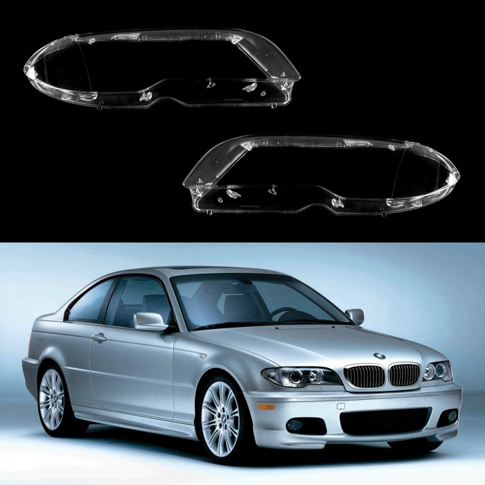 BMW 3 E46 Coupe/Cabrio Facelift (2002-2005) | Headlight lens plastic covers  LEFT / RIGHT PAIR