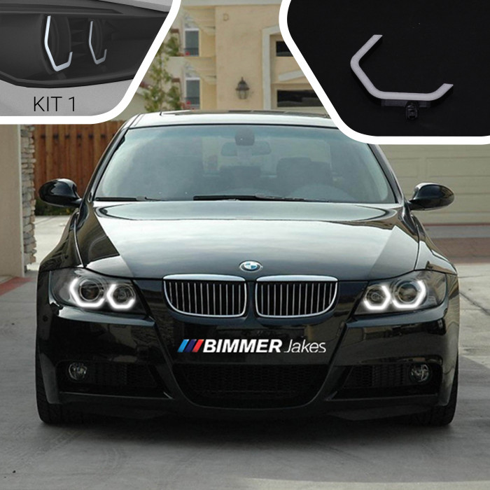 Angel Eyes headlights for 1-series BMW E8_ in silver