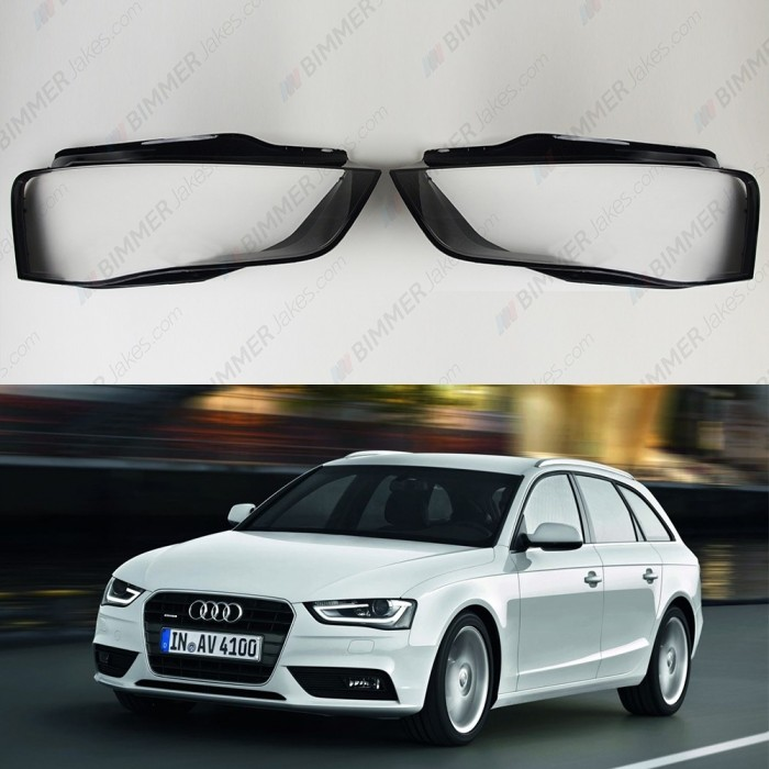 Audi A4 B8 Facelift Headlight Lens Plastic Cover Left Right Pair